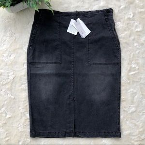 Black wash denim high waist midi pencil skirt med